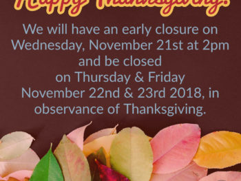 Thanksgiving Holiday Hours!