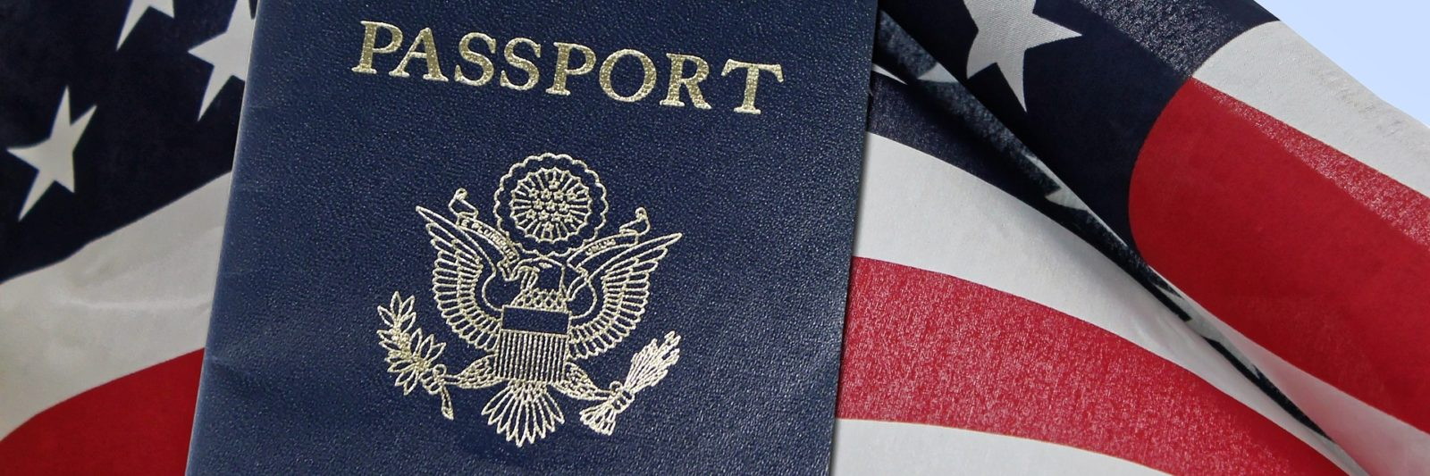 United states flag with passport