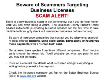 Beware of Scammers Targeting Business Licenses! Scam Alert!