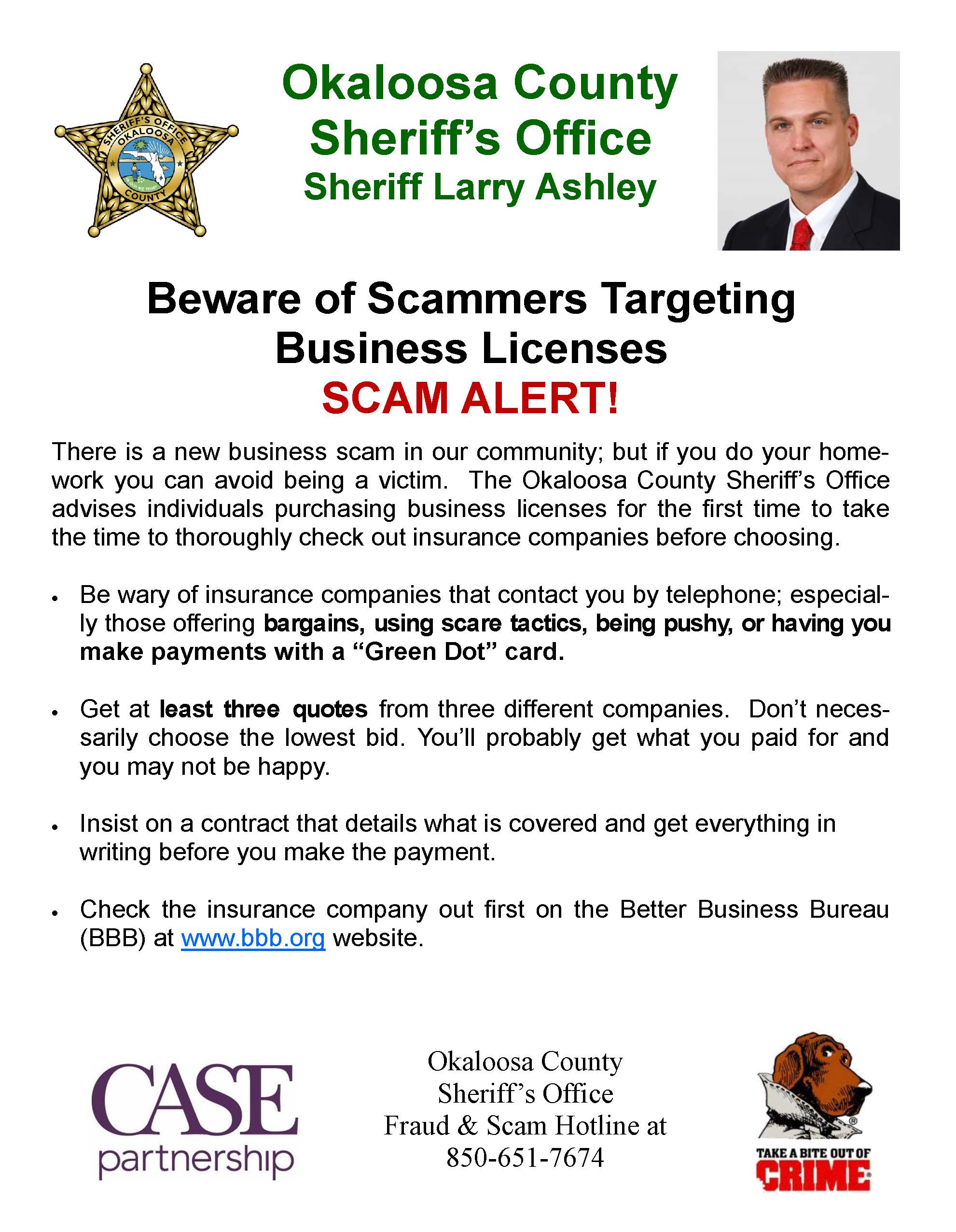 Beware of Scammers Targeting Business Licenses graphic